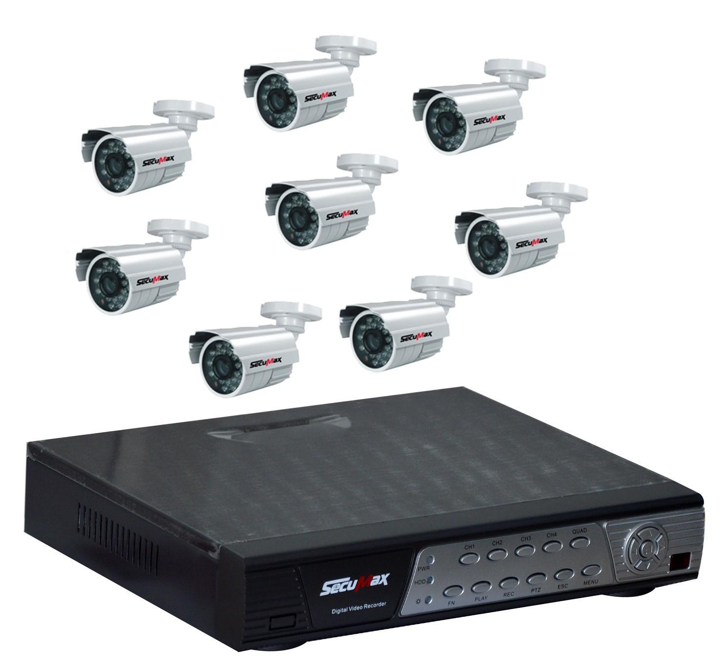 kit de surveillance cctv 8 canaux 8 cam ras secumax. Black Bedroom Furniture Sets. Home Design Ideas